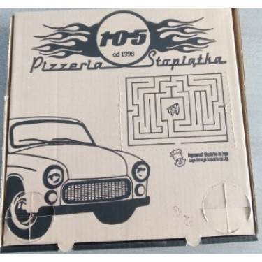 Pudełko pizza 33x33x4,5 logo Pizzeria 105, 50 szt